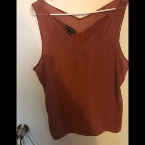 INC Double V Mixed Media Blouse in Rust Size XL